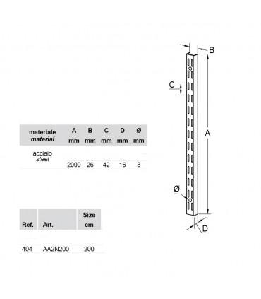 Crémaillère double en acier longueur 2 métres
