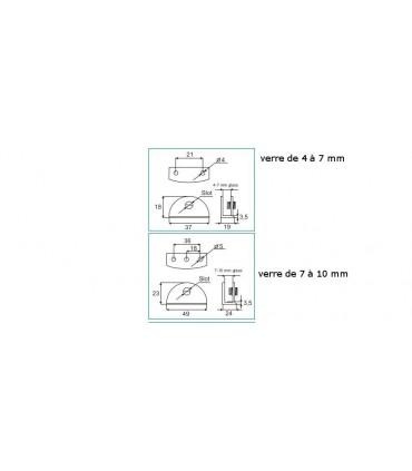 Support demi rond pour verre d'épaisseur 4 à 10 mm