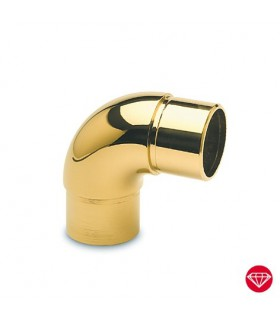 Raccord 90° pour tube Ø 38 mm doré brillant