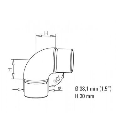 Raccord 90° pour tube Ø 38 mm technique