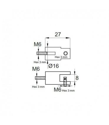 Support pour étagère d'épaisseur 6 à 8 mm
