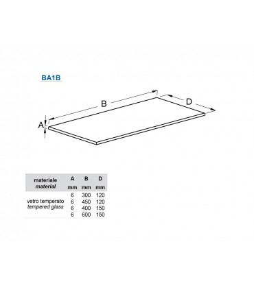 Tablette en verre LG.300 & 450 mm série BA1B par Bolis Italia