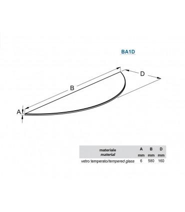Tablette murale en verre découpe arrondie série BA1D par Bolis Italia