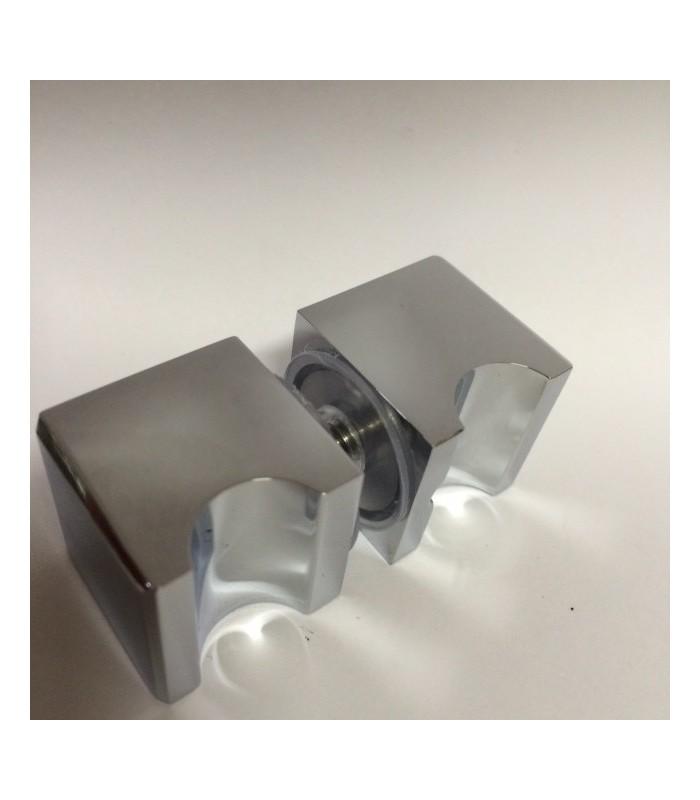 paire de poign e bouton inox carr avec encoche pour porte en verre. Black Bedroom Furniture Sets. Home Design Ideas