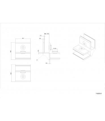 Connecteur Tor box pour 2 volumes de verre à 90° T0020