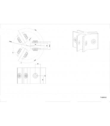 Connecteur Tor box pour 3 volumes de verre à 120° T0050