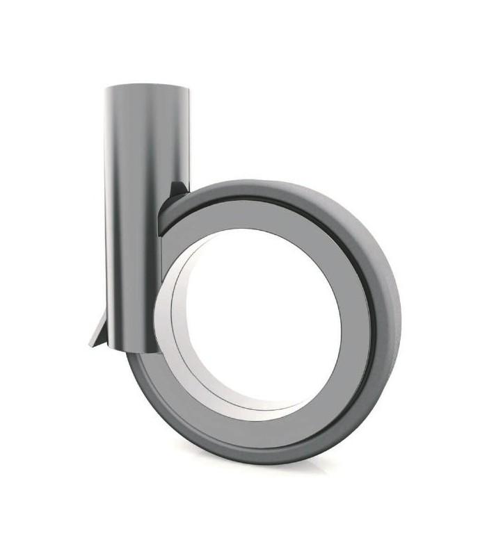 Roulette Ø 90 mm avec frein argent mat