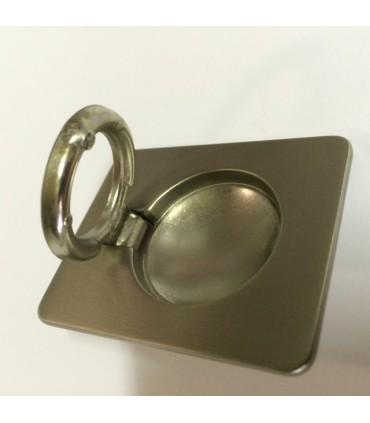 Poignée de meuble tirette affleurante nickel satiné ouverte
