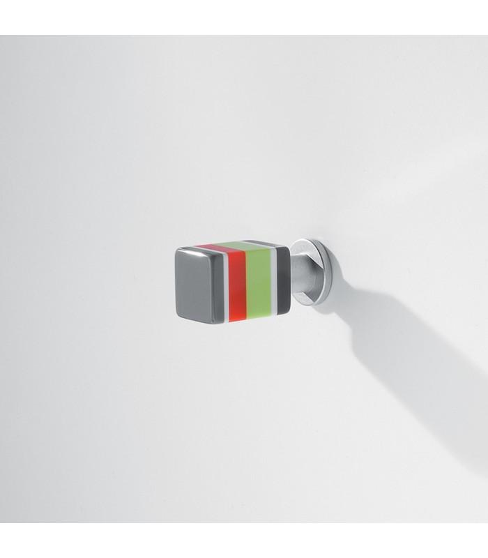 Bouton Vintage multicolore rectangulaire gris