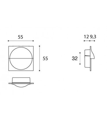 Poignée affleurante 55 x 55 MM MB09132 par Confalonieri