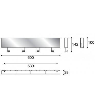 Patère miroir PA01283 par Confalonieri avec quatre crochets rétractables