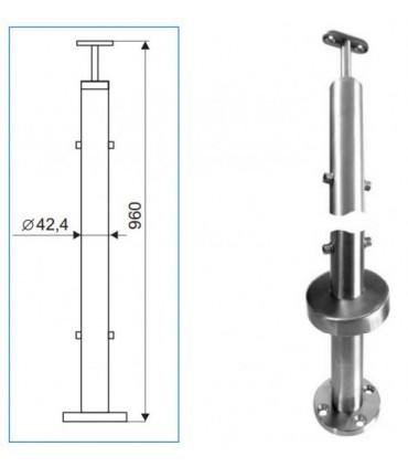 Poteau de balustrade inox rond Ø 42.4 mm