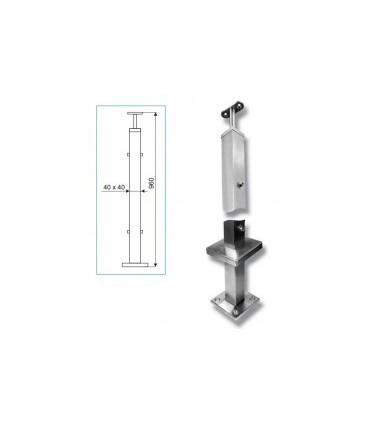 Poteau de balustrade inox carré de 40 x 40 mm
