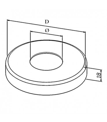 Cache pour embase à souder pour tube Ø 42.4 x 2 mm