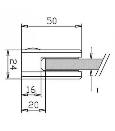 Pince à verre demi ronde à talon plat - modèle 20 - Inox aisi 304