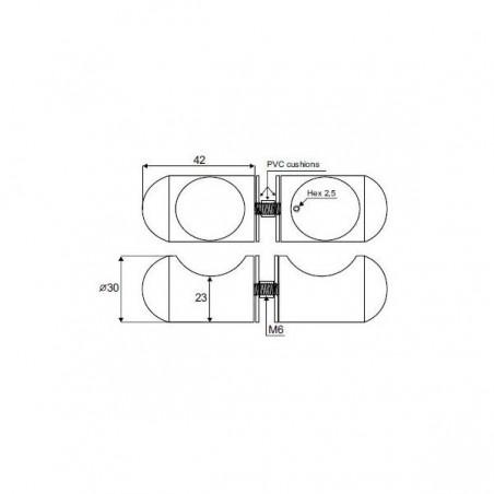 Paire de poignée bouton série Eutin pour porte en verre