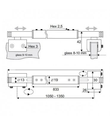 Barre raidisseur pour fixation entre deux volumes de verre