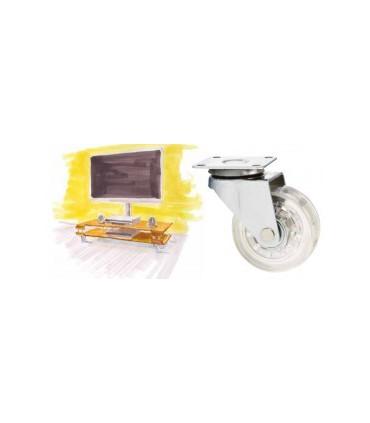 Roulette polyuréthane transparent et couleur