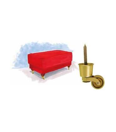 Roulette laiton sur sabot pour pied de meuble ou fauteil