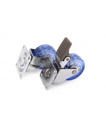 Roulette polyuréthane (PU) bleu avec et sans frein