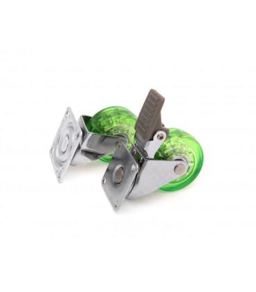 Roulette polyuréthane (PU) vert avec et sans frein