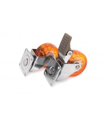 Roulette polyuréthane (PU) orange avec et sans frein