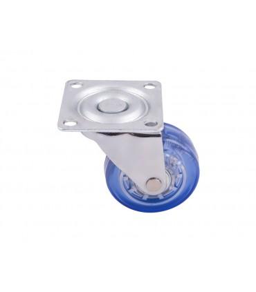 Roulette polyuréthane (PU) bleu sans frein