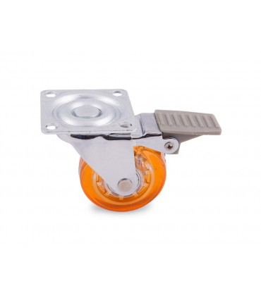 Roulette polyuréthane (PU) orange avec frein