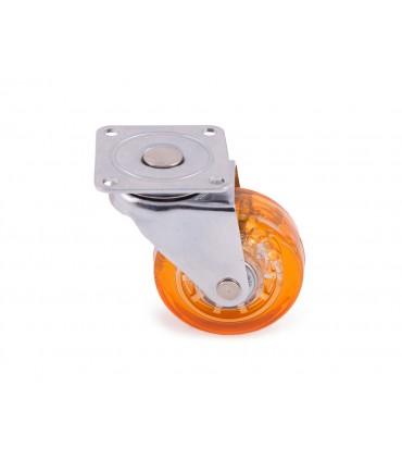 Roulette polyuréthane (PU) orange sans frein