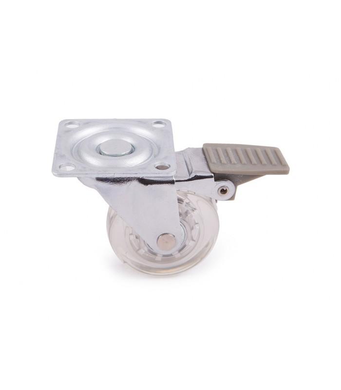 Roulette polyuréthane (PU) transparent avec frein