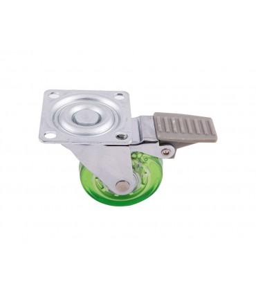 Roulette polyuréthane (PU) vert avec fein