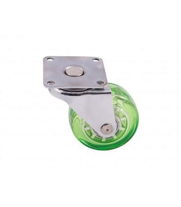 Roulette polyuréthane (PU) vert sans frein