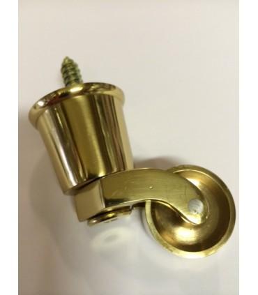Roulette laiton sur sabot pour pied de meuble ou fauteuil ancien