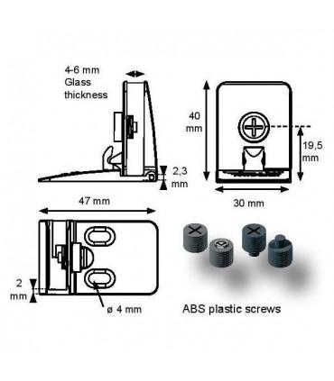 Paire de charnière série Square pour porte de vitrine en verre