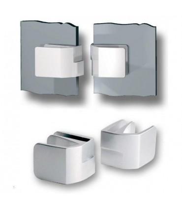 Paire de poignée série Square forme carrée pour double porte de vitrine en verre