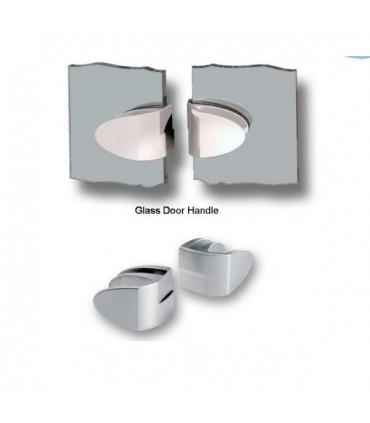Paire de poignée série Badge pour double porte de vitrine en verre