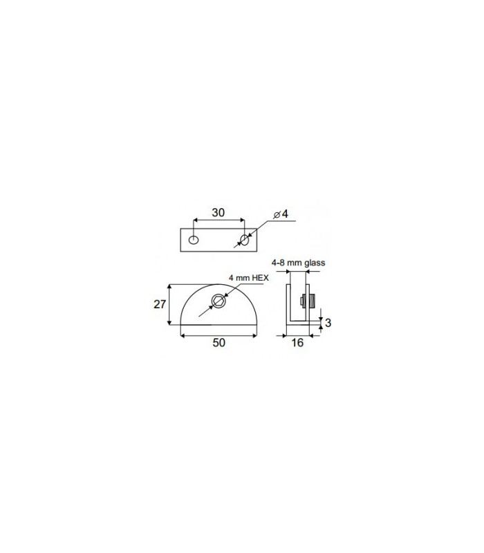 Support demi rond pour verre d'épaisseur 4 à 8 mm