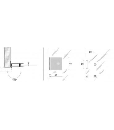 Charnière CP00305B fiche technique et encoche sur verre