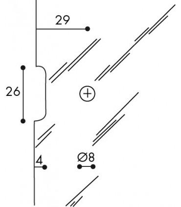 Encoche sur verre pour charnière 40/35 CP00305B par Confalonieri