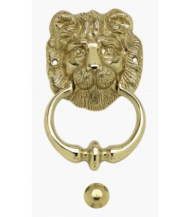 Heurtoir marteau de porte en laiton série tête de Lion bouche fermée