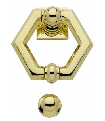 Heurtoir marteau de porte en laiton massif série Hexagonne