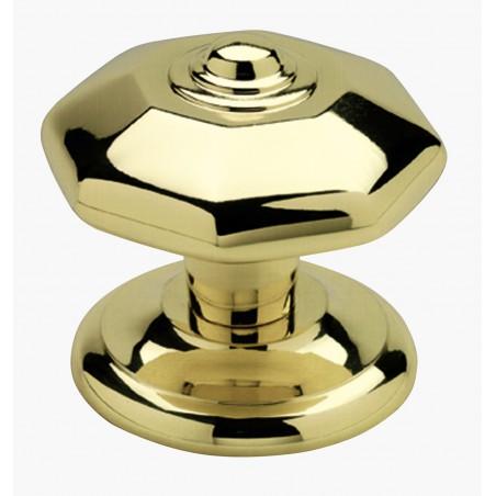 Poignée bouton de porte en laiton massif série Octogonal