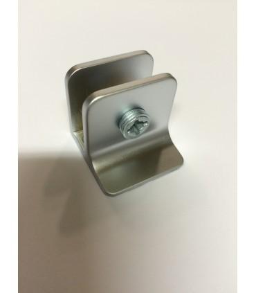 Pince fixe chrome mat velours pour verre d'épaisseur 4 à 8 mm