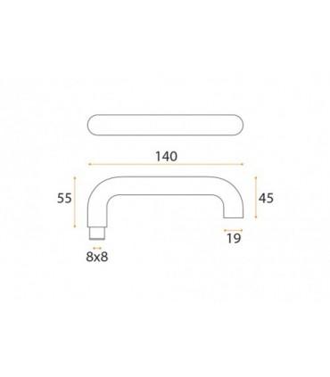 Dimensions poignée béquille série IN.00.028B par JNF