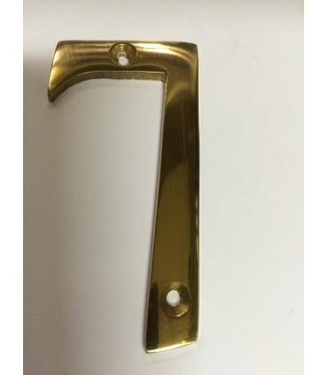 Chiffre découpé en laiton poli verni hauteur 75 mm