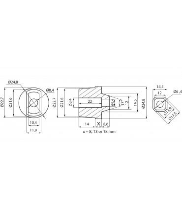 Axe rectangulaire amovible pour pivot à frein Hekla ou Katla