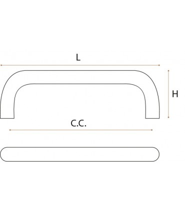Poignée de meuble coudée en cuivre poli série BZ.22.202 par JNF
