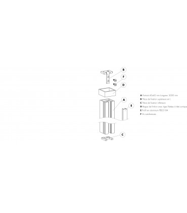 Kit poteau raidisseur sol / plafond montage central