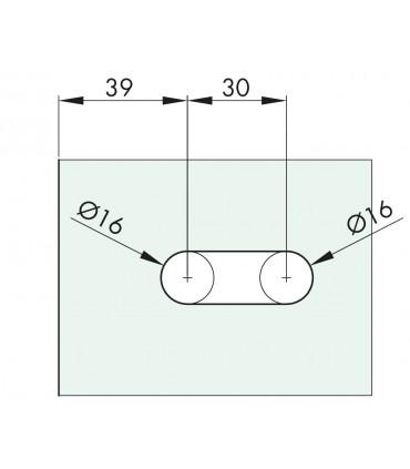 Charnière elliptique 90° série 44 pour porte en verre