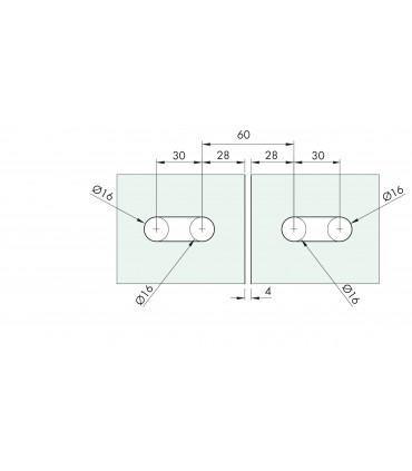 Charnière elliptique double verre/verre